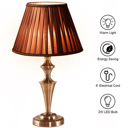 "Costway 13"" Antique Brass Bedside Table Lamp Champagne Light w/ LED Bulb - image 10 of 10"