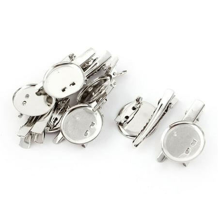 Round  Pin Hairclip Back Brooch Finding DIY Base Clip Silver Tone 8pcs Antique Silver Tone Brooch