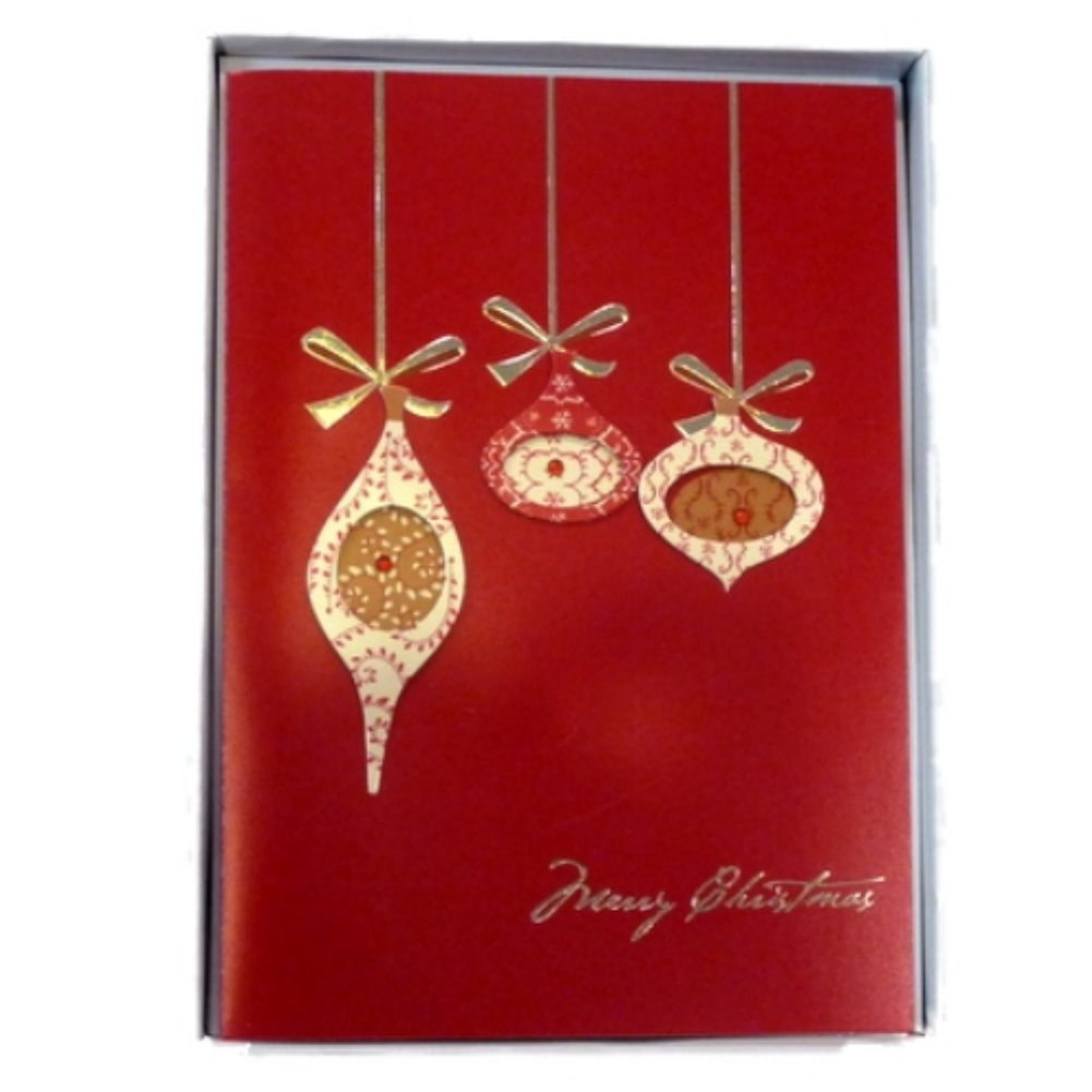 Trimmery Red Ornaments Christmas Cards Holiday Xmas Golden Bows