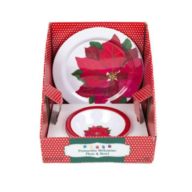 DDI 2319497 Poinsettia Design Christmas Dinnerware, White & Red - Case of 64