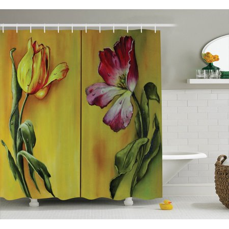 Country Decor Shower Curtain Set, Painting Of Curving Elegant Tulips Romantic Dramatic Naive Flower Retro Art Print, Bathroom Accessories, 69W X 70L Inches, By Ambesonne
