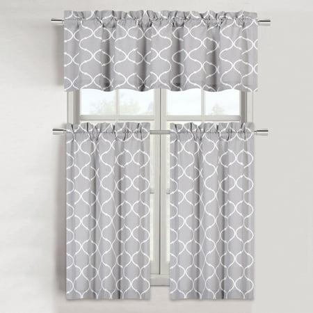 Gray Kitten (Maison Trellis Cotton Blend Kitchen Curtain Tier & Valance Set -)