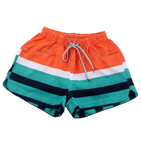 Women Summer Water Sports Stripes Pattern Sea Beach Shorts Swim Trunks S (US 23)