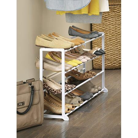 "Whitmor 4-Tier 20 Pair Floor Shoe Rack - White - 9"" x 35.75"" x 18.75"""