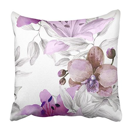 Purple Fringed Orchid - CMFUN Purple Plant Watercolor Floral with Orchid Flowers on White Orange Tropical Pillowcase Cushion Cover 18x18 inch