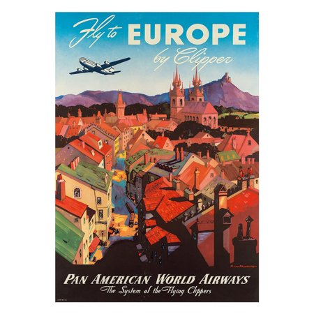 Pan American: Fly to Europe by Clipper, c.1940s Art Print  By M. Von Arenburg