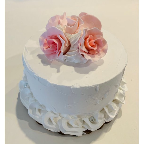 Groovy Fake Wedding Cake Pink Roses Faux Cake Prop White With Pink Personalised Birthday Cards Fashionlily Jamesorg