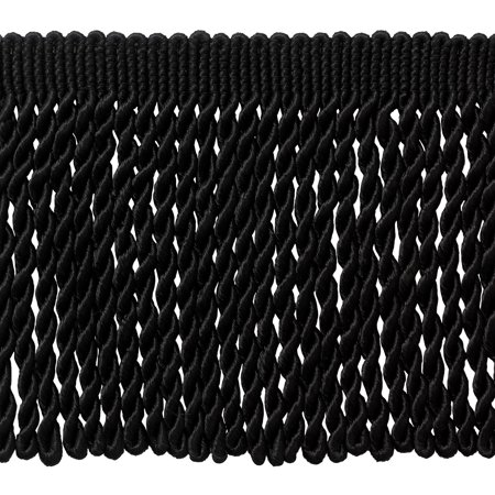 Basic Black Collection (6 Inch Long BLACK Bullion Fringe Trim, Basic Trim Collection, Style# BFS6 Color: K9, Sold By the Yard)
