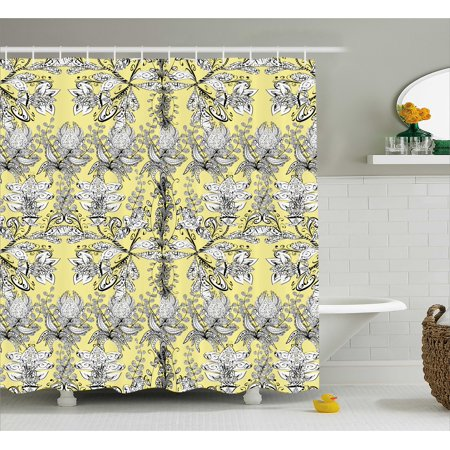 Grey And Yellow Shower Curtain Ethnic Indian Bohem Design With Flowers Leaves Swirls Dots