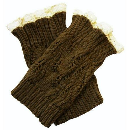 Women Colored Lace Trim Crochet Boot Cuff Knit Cotton Spandex Leg Warmers Crochet Leg Warmers