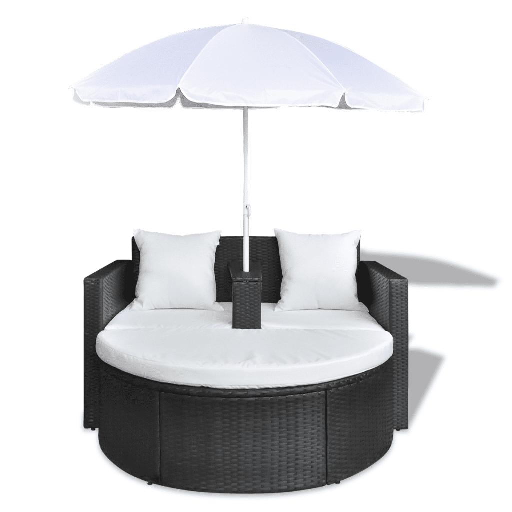 Anself Garden Poly Rattan Lounge Set with Parasol Outdoor Black