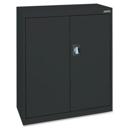 Lorell LLR41305 Fortress Series Storage Cabinets, Black All shelves adjust in 2  increments bottom shelf is fixed; holds 180 lb. per shelf evenly distributedAll shelves adjust in 2  increments, bottom shelf is fixed; holds 180 lb. per shelf, evenly distributedThree sets of hinges per door
