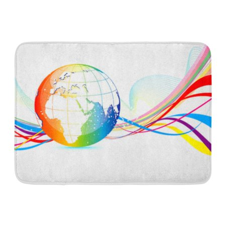 GODPOK Lines Color Abstract Colorful Globe Global World Rug Doormat Bath Mat 23.6x15.7 inch Colorful World Color Line