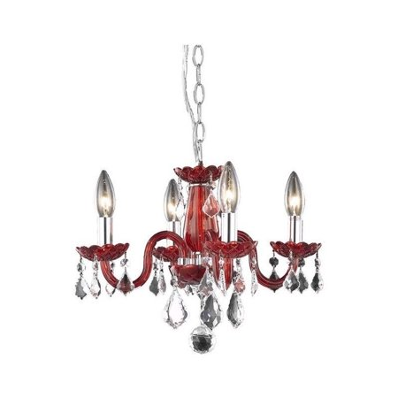"Elegant Lighting Rococo 15"" 4 Light Royal Crystal Chandelier in Red - image 1 of 1"
