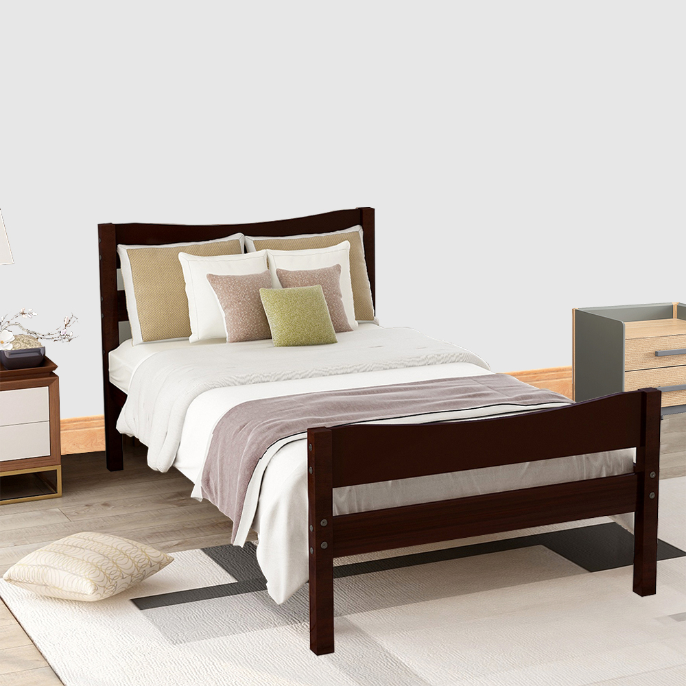 Twin Bed Frame No Box Spring Needed, Espresso Twin ...