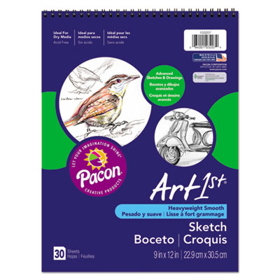 Artist's Sketch Book, Unruled, 80lb, 9 x 12, White, 30 Sheets, Sold as 1 Each