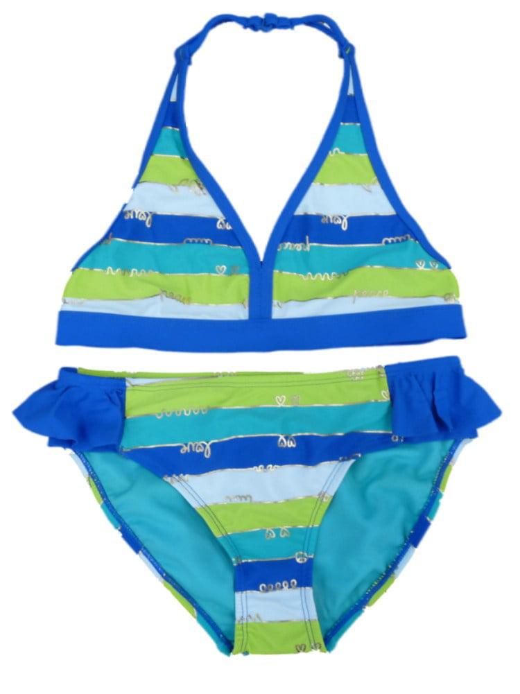 Joe Boxer Girls Blue Striped Swimming Suit Swim Bikini Bathing Suit 2 PC