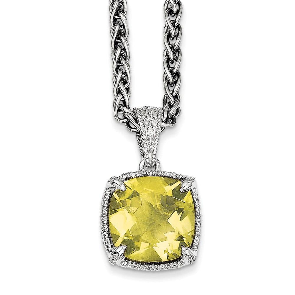 SS 10 Lemon Quartz & 1/15ct. Diamond 18in Vintage Style Necklace 10.075ct