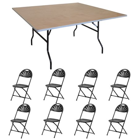 Pogo 48 square wood banquet folding table and chairs 8x fan back pogo 48 square wood banquet folding table and chairs 8x fan back chair watchthetrailerfo