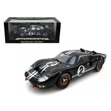 - 1966 Ford GT-40 MK 2 Black #2 1/18 Diecast Model Car by Shelby Collectibles