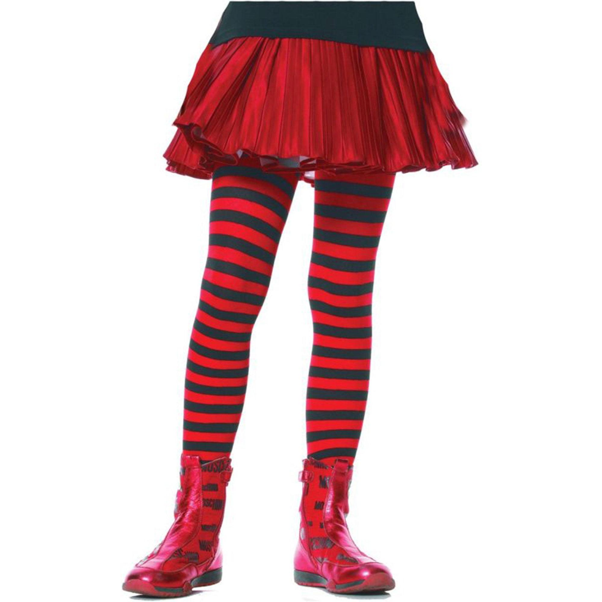 Morris Costumes Tights Chld Striped Bk/Rd 7-10