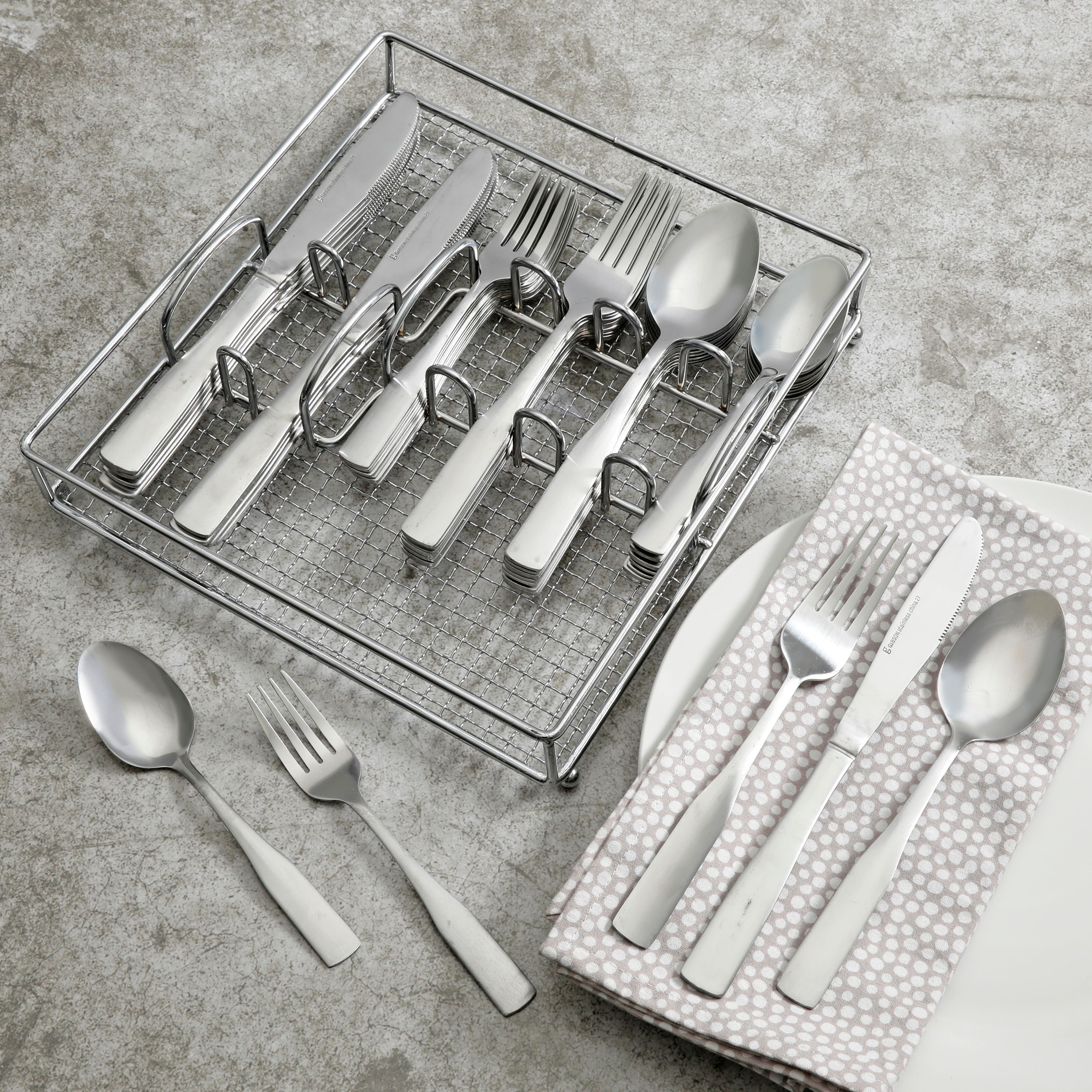Gibson Home Griffen 61-Piece Flatware Set with Wire Caddy