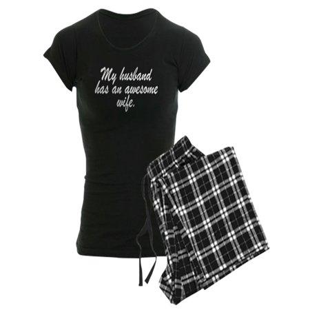 CafePress - MY HUSBAND HAS AN AWESOME WIFE. Pajamas - Women's Dark Pajamas