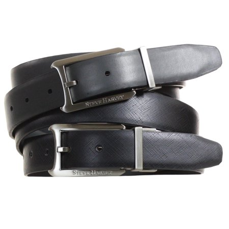 Steve Harvey 30Mm Reversible Dress Belt With Twist Reversible Logo Buckle 32