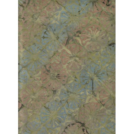"Rusty Brown and Steel Blue Flowers on Leapfrog Green Batik ~ HALF YARD!!! ~ Impressions Balis #1989-44 Quilt Fabric 100% Cotton 45"" (114 Cm) Wide, Green,.., By Benartex"