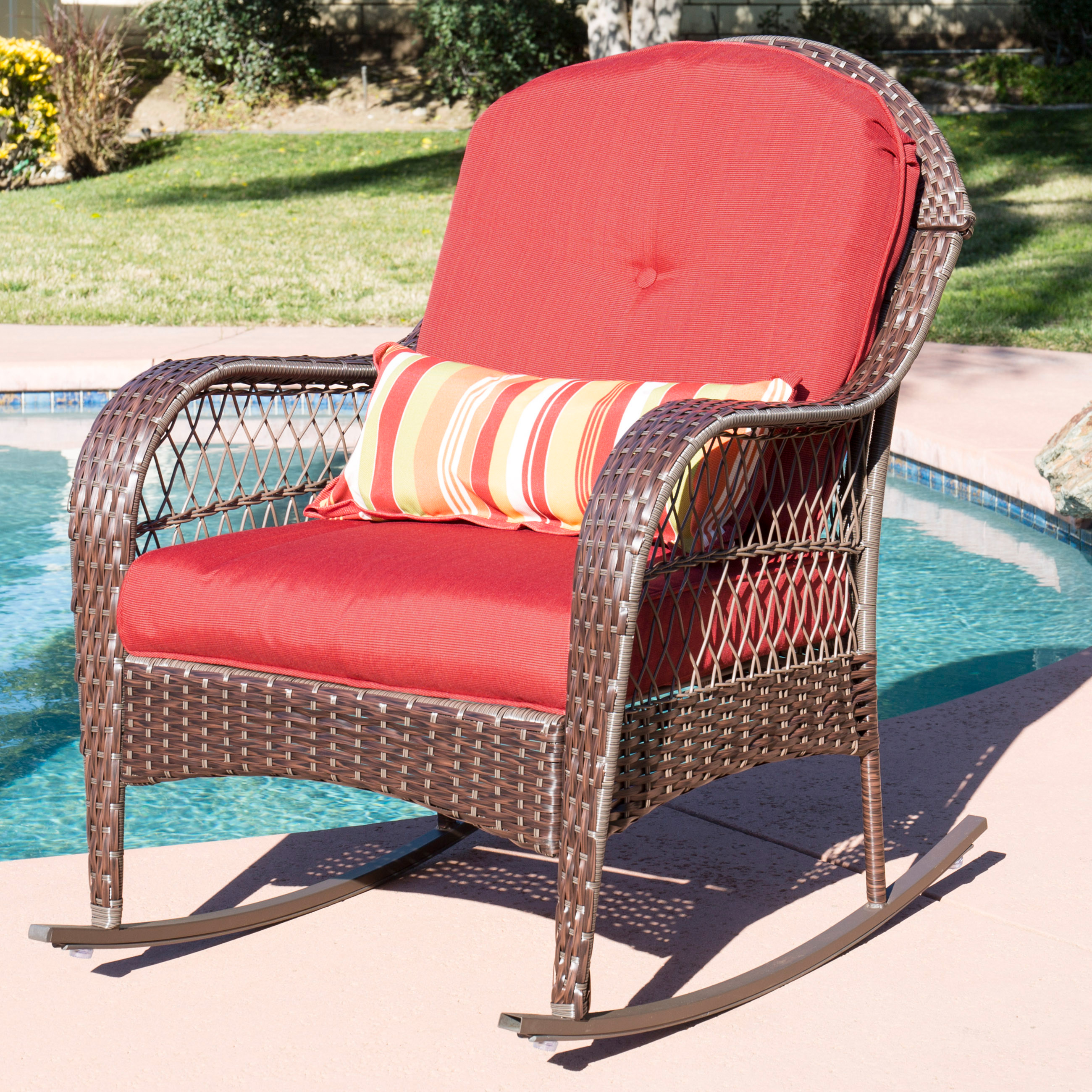 Best Choice Products Wicker Rocking Chair Patio Porch Deck Furniture All Weather Proof  W/ Cushions