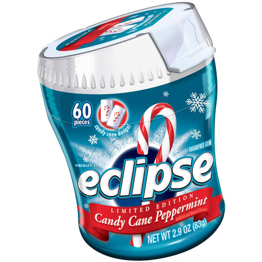 Eclipse Holiday Peppermint Sugarfree Gum Bottle, 60 Pieces