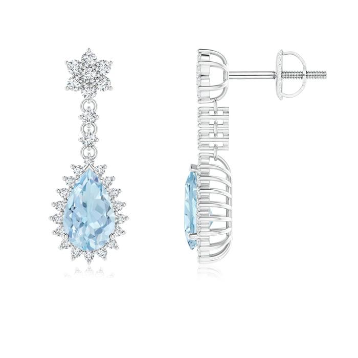 Angara Pear Aquamarine Halo Dangle Earrings with Diamond Cluster 7QpO9Abx