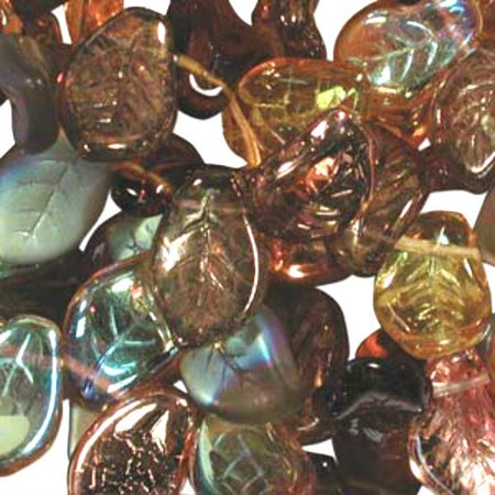 - UnCommon Artistry Czech Glass 7x12mm Leaf Bead Mix, Wheatberry Mix (50)