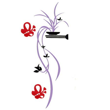 Room Acrylic Chlorophytum Comosum Pattern Wall Adornment 3D Sticker Light Purple - image 5 de 5