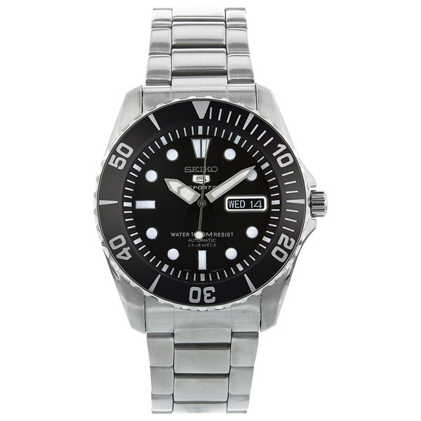 Seiko Men's 5 Black Dial Automatic Silver Stainless-Steel Plated Self Wind Fashion Watch SNZF17K