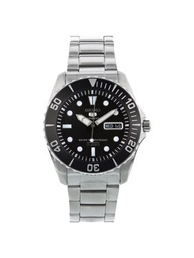 Seiko Men's 5 Automatic Black Dial Stainless Steel Watch SNZF17K