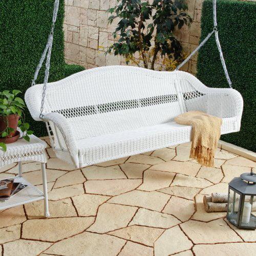 Casco Bay 3 Seater Wicker Porch Swing - White