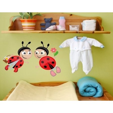 Ladybugs II Wall Decal - wall print decal, sticker, mural vinyl art home decor - DS 847 - 16in x 9in