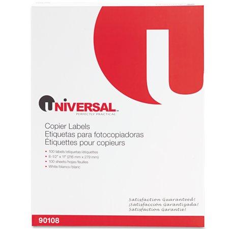Universal Copier Mailing Labels, Copiers, 8.5 x 11, White, 100/Box -UNV90108 Copier Mailing Label
