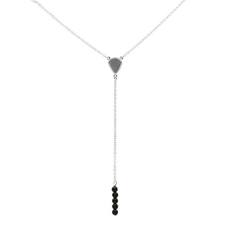 Beaded Onyx (Sterling Silver Black Onyx Stone Beads Bar Linear Drop Y-Shaped Cable Necklace, 19
