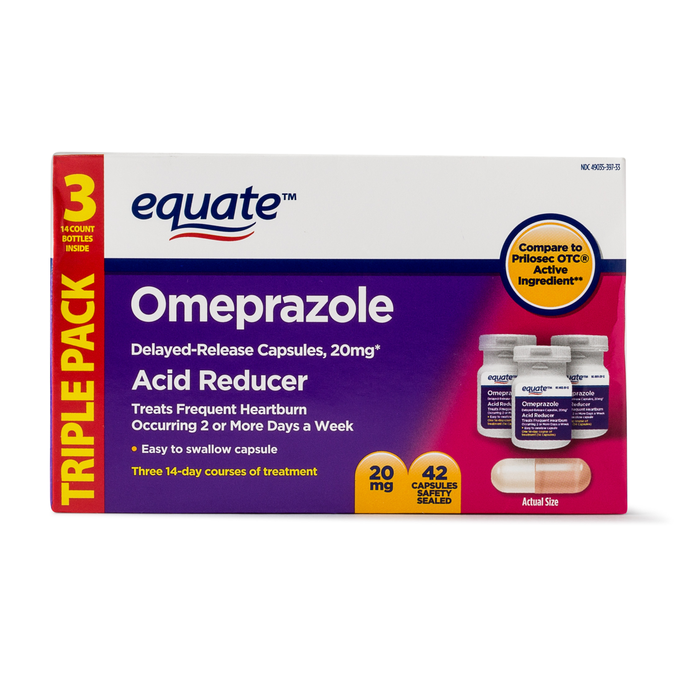 Equate Acid Reducer Omeprazole Capsules, 20.6 mg, 42 Ct, 3 Pk