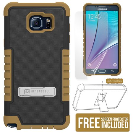 I617 Cell Phone Skins - BEYOND CELL BLACK/BROWN TRI-SHIELD RUGGED SOFT SKIN HARD CASE COVER WITH KICKSTAND + SCREEN PROTECTOR FOR SAMSUNG GALAXY NOTE 5 PHONE (SM-N920)