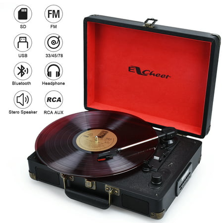 Portable Turntable with Bluetooth Speaker Vinyl to MP3 Record