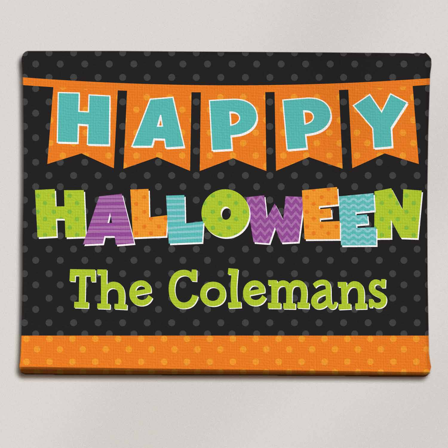 "Personalized Happy Halloween Colorful Canvas, 11"" x 14"""
