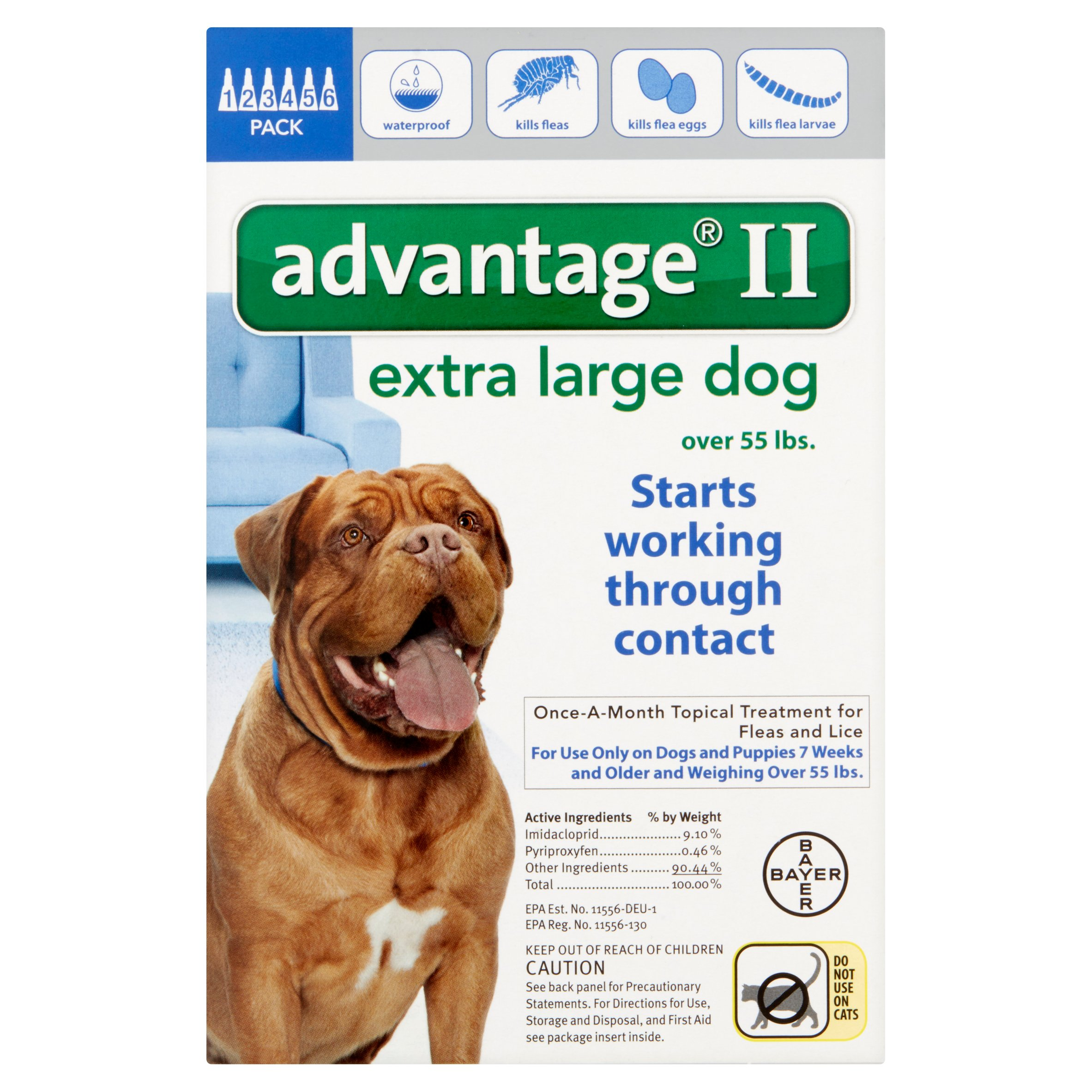 Image of Advantage II Flea and Lice Topical Monthly Treatment for Extra Large Dogs, 6 Treatments