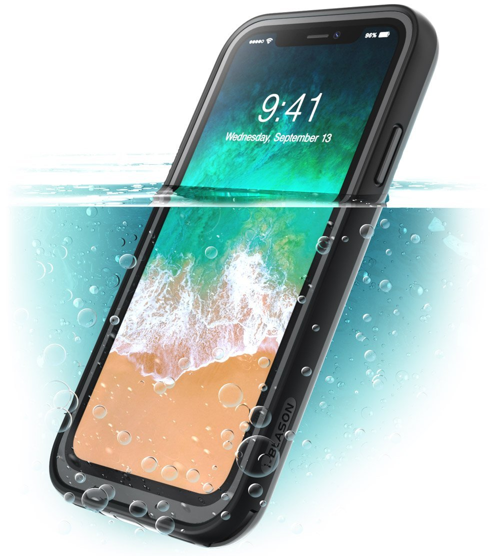 iPhone X Case, i-Blason [Aegis] Waterproof Full-body Rugged Case with Built-in Screen Protector, Iphone x Black