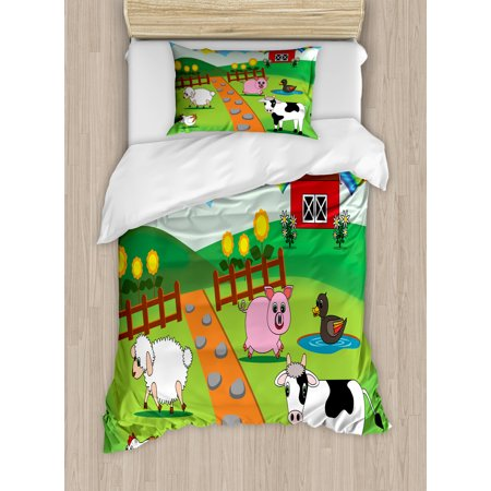 Cattle Twin Size Duvet Cover Set, Cartoon Farmhouse Life for Animals Theme with Pig Cow Sheep Chicken and Duck Image, Decorative 2 Piece Bedding Set with 1 Pillow Sham, Multicolor, by Ambesonne