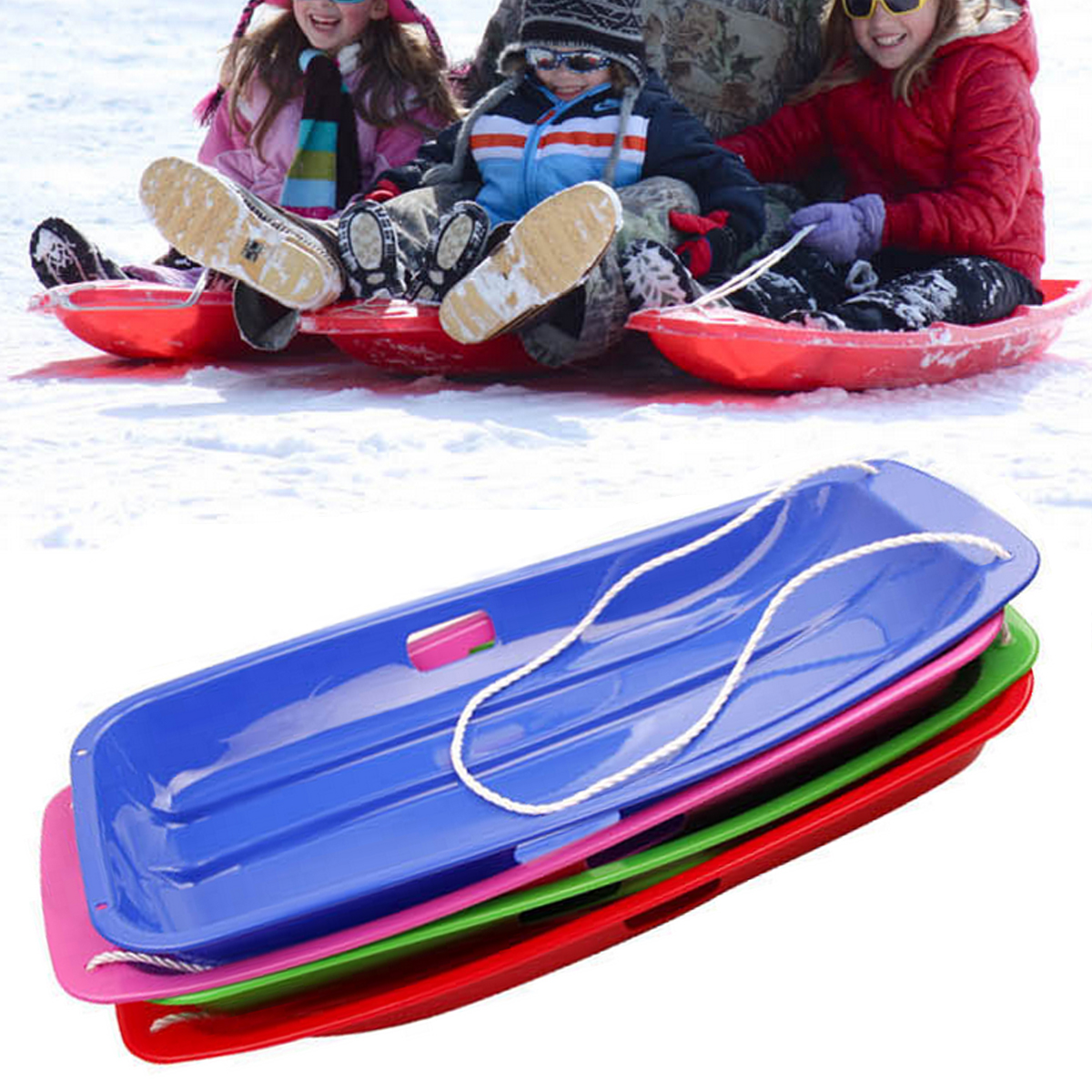 Plastic Snow Sled Boat Board Sledge Skiing Toboggan Outdoor Kid Children Gifts by