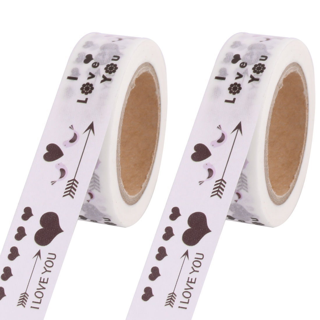 Home Heart Pattern Diary Book Decor Adhesive Washi Paper Tape 15mm x 10M 2 Pcs