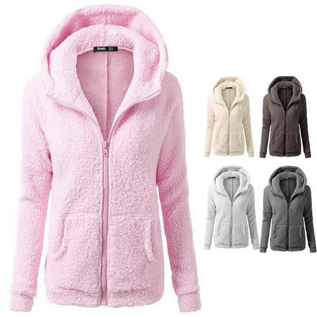 Women's Fashion Jacket with A Hooded Sweater Plush Coat - Long White Hooded Cloak